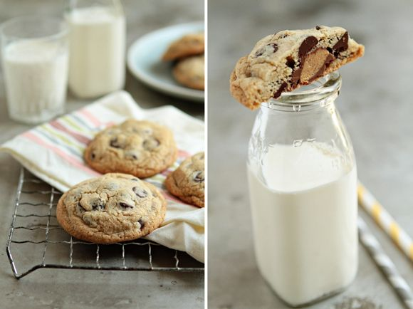 Reese's Cup Stuffed Chocolate Chip Cookies | My Baking Addiction