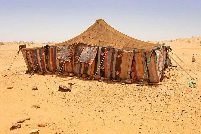 Шатер африканских бедуинов, который также иногда называют фелидж, — это, по сути, покрывало из верблюжьей или козьей шерсти, раскинутое поверх шестов. По количеству этих шестов определяют богатство бедуина, максимальное число таких подпорок — 18.  С помощью полога его делят на две части, одну отводят женщинам, вторую занимают мужчины.  Внутри шатер устилают циновками. Несмотря на кажущуюся простоту конструкции, на ее сборку уходит два-три часа. Днем шатер полностью открыт: покрывала…