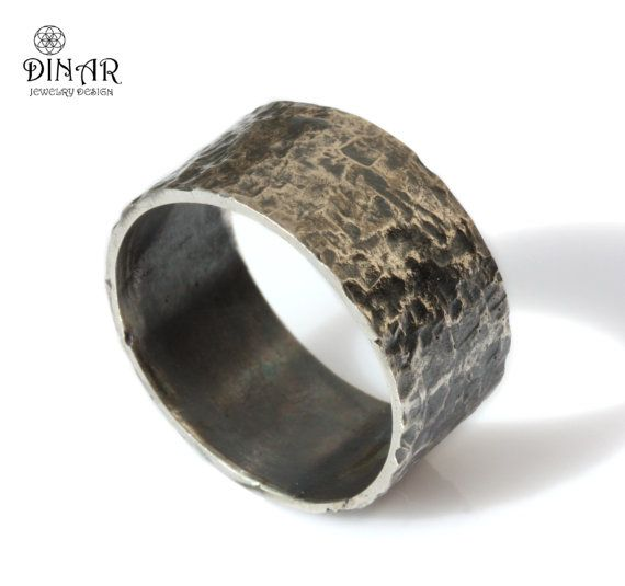 Hammered Wedding Band , Oxidized Silver ,wide Natural
