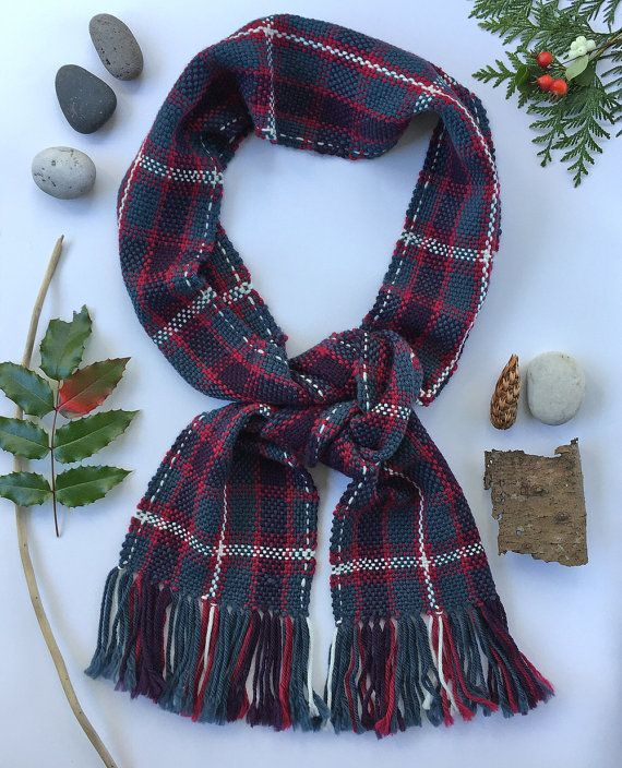Mens Plaid Hand Woven Scarf - Winter Handwoven Scarf - Plaid Scarf - Long Wool Scarf - Mens Scarf - Gift for Him - Christmas Gift - Scarves