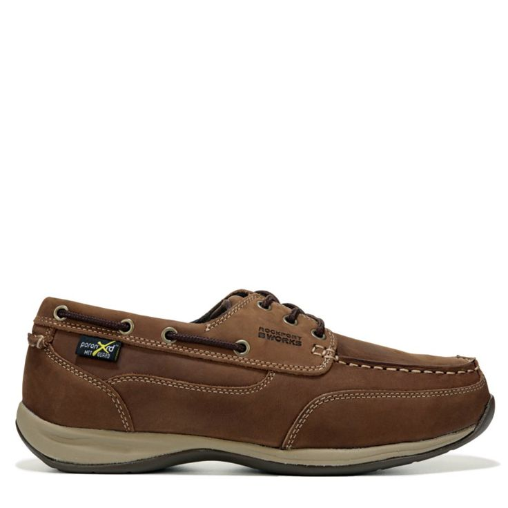 Rockport Works Men's Sailing Club Medium/Wide Steel Toe Boat Shoes (Brown Leather) - 12.0 M