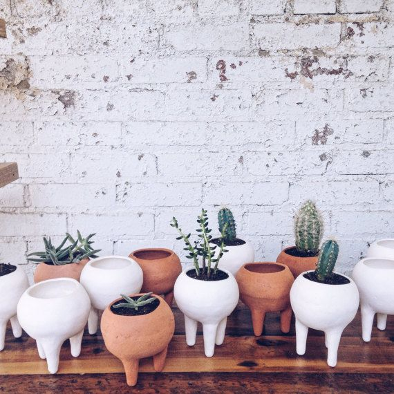 Rustic Tabletop Ceramic Planter with Legs by TylerKingstonWoodCo