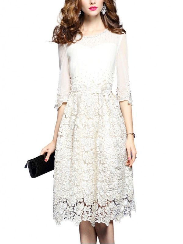 Shop - Beige Embroidered Hollow Out Midi Dress on Metisu.com. Discover  stylish and vogue women s dresses for the season. Regular discounts up to  60% off. 3d61f673e