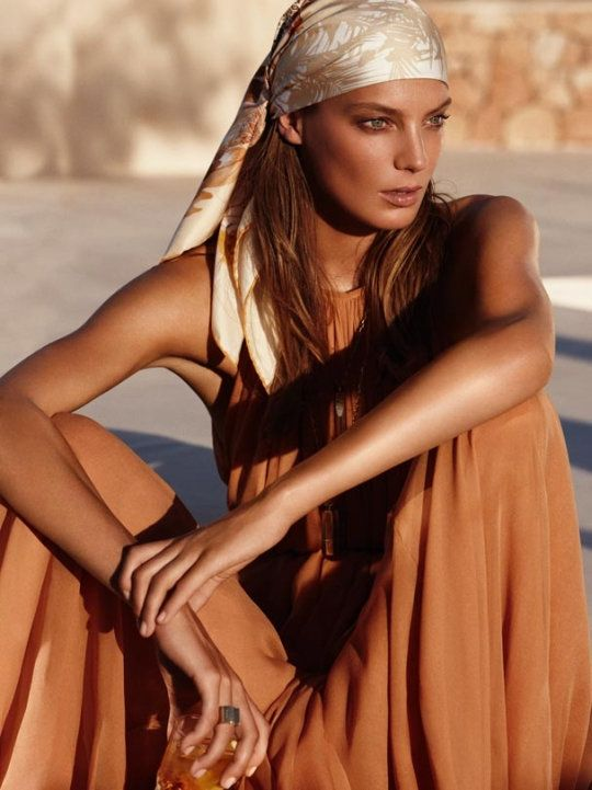 Daria Werbowy by Mikael Jansson for Salvatore Ferragamo Spring 2011 Campaign: Mikael Jansson, Salvatore Ferragamo, Ferragamo Spring, Fashion, Boho, Bohemian Style, Daria Werbowy, Head Scarf