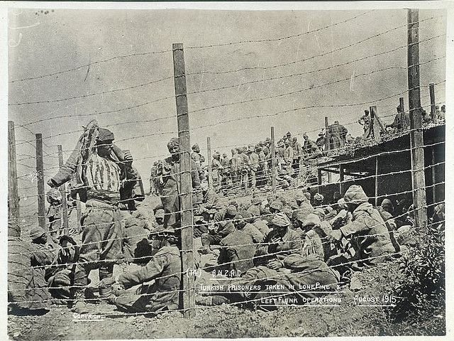 'With the camera at Anzac' – Anzac – Turkish prisoners taken in Lone Pine & left flank operations