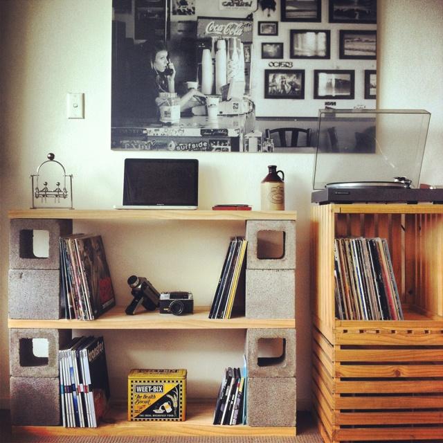 Cinder block shelves for the living room.