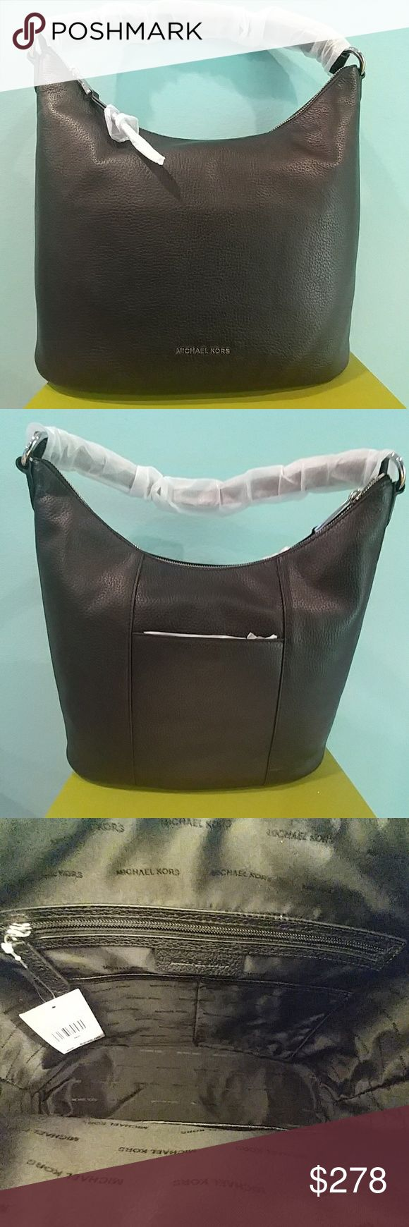 """🆕 Michael Kors large HOBO - Lupita Large leather convertible hobo/ shoulder bag. Pebble leather, zip closure, silver tone hardware. Includes 32"""" strap  w/ 9"""" drop. Interior : 1 zip pocket, 4 slip pockets. Exterior :  1 back snap pocket polyester lining. Black interior. Absolute quality purse... Beautiful MICHAEL Michael Kors Bags Hobos"""