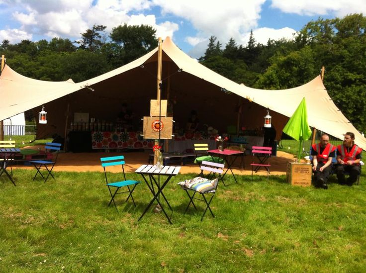 10M X 7.5M Biege Stretch Tent set up for Niks Tea @ Westport Festival. #Westport Festival #Maverickmarquees
