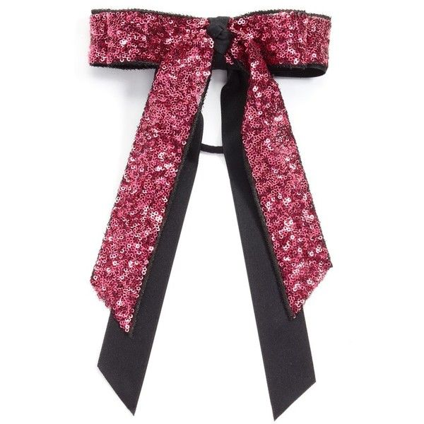 Women's Cara Sequin Bow Ponytail Holder (395 MXN) ❤ liked on Polyvore featuring accessories, hair accessories, hot pink, cara hair accessories, sparkly hair accessories, sequin hair accessories, stretchy hair ties and ponytail hair ties