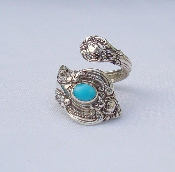 I have this ring and love it sooo much! Vintage Turquoise Towle Sterling Spoon Ring   El by dmfsparkles, $85.00