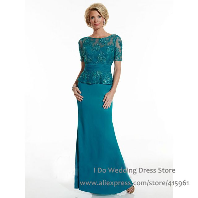 Sob medida Bateau Lace Manga Curta Mãe dos Vestidos de Noiva Vestidos de Noiva Bainha Turquesa 2016 M2120