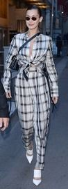 Following a quick change, Kendall Jenner and Bella Hadid were ready to hit the town on Wednesday night, both sporting cool and quirky checked ensembles.
