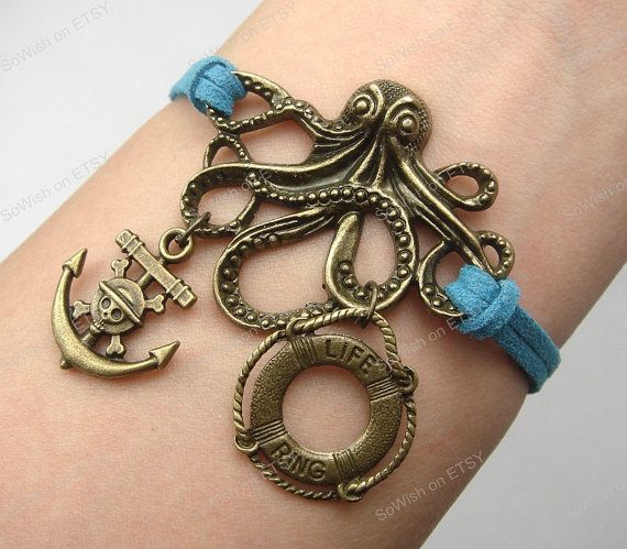 Pirate Bracelet Octopus Bracelet life ring & anchor by sowish, $7.99