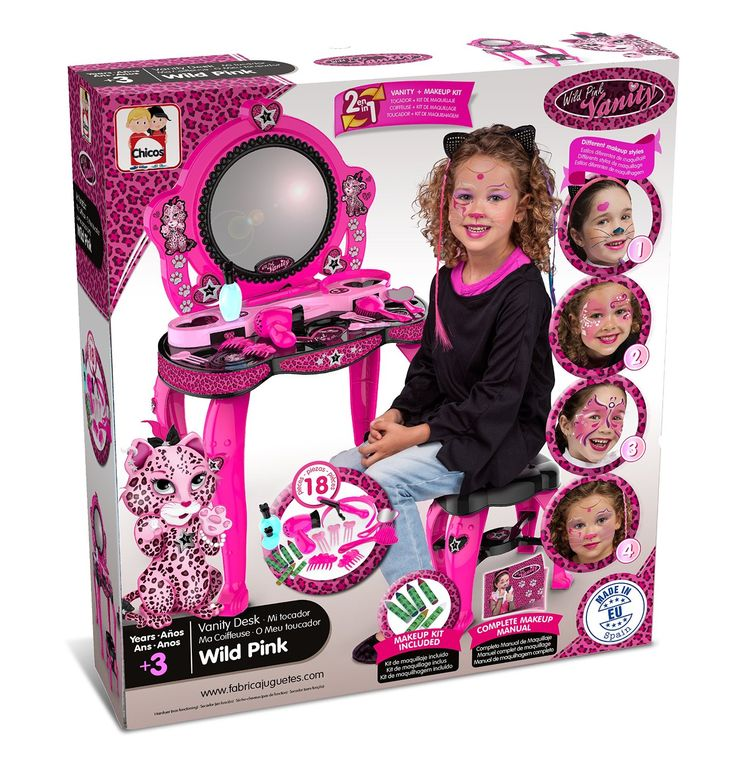 TOCADOR INFANTIL DE BELLEZA WILD PINK. FABRICADO EN ESPAÑA. FÁBRICA DE JUGUETES CHICOS. 87395, IndalChess.com Tienda de juguetes online y juegos de jardin