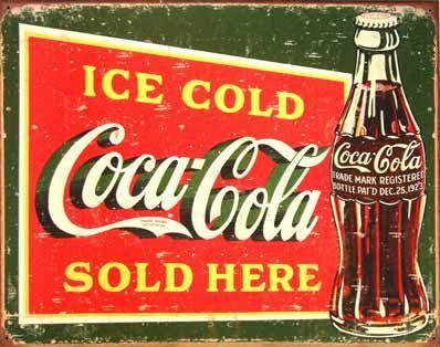 plaque publicitaire ice cold coca cola sold here plaque m tal pub affiches et encarts. Black Bedroom Furniture Sets. Home Design Ideas