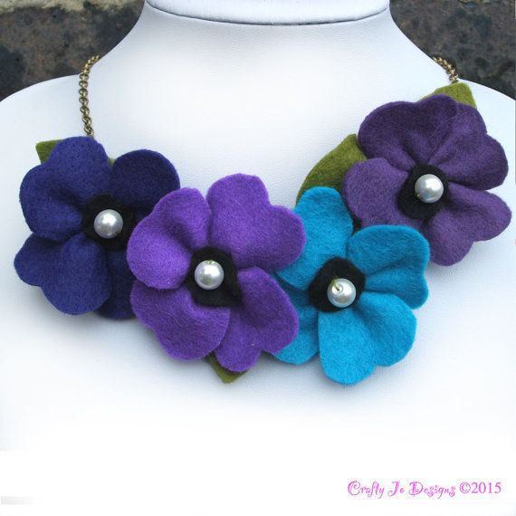 Purple and Teal Flower Necklace, Poppies and Pearls Felt Jewellery, Felt Flower Statement Necklace, Purple Poppy Necklace