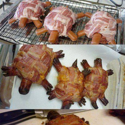 Hillbilly Turtle Burgers   Ground beef patties, with cheese, covered in bacon weave.  Then stick hotdog pieces for head, tail, and legs.  Make scissor slits in the legs for feet.  Bake at 400 degrees for 20-30 minutes on an oven rack in a shallow foil-lined pan.