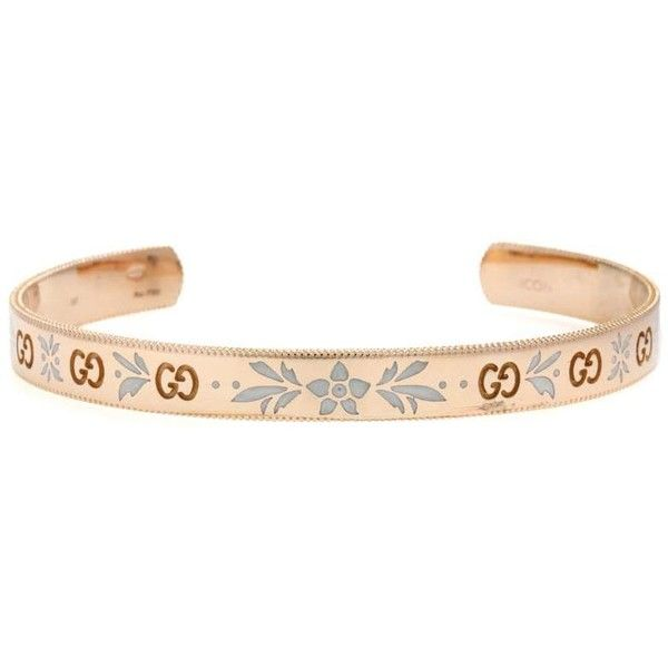 Gucci Icon Rose Gold Bracelet ($2,650) ❤ liked on Polyvore featuring jewelry, bracelets, gold, gucci jewellery, gucci bangle, gucci, pink gold jewelry and gucci jewelry
