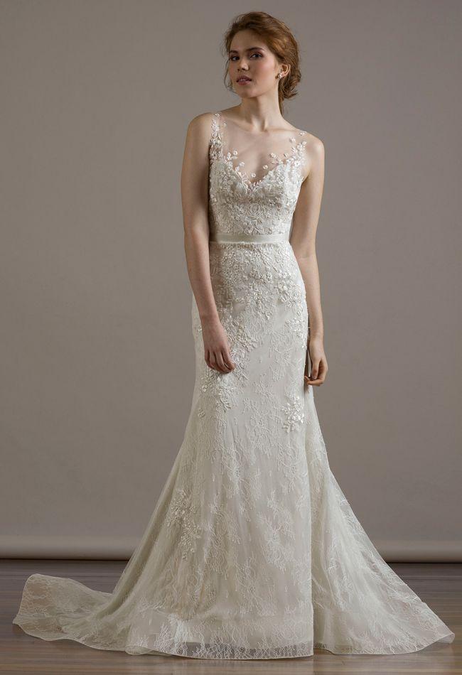 Illusion Neckline Mermaid Wedding Dress | Liancarlo Fall 2015 Wedding Dresses | blog.theknot.com