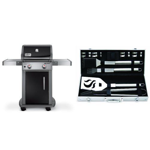 Weber 46110001 Spirit E210 Liquid Propane Gas Grill, Black with Cuisinart Grilling Set - http://rfernandez.otldemo.com/wp_timeless/weber-46110001-spirit-e210-liquid-propane-gas-grill-black-with-cuisinart-grilling-set/