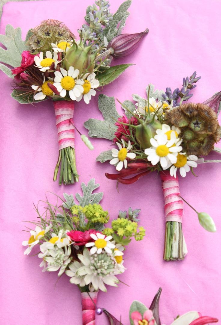 pretty summer flower buttonholes