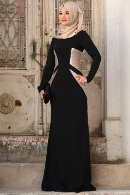 Cemile Nur Siyah Işık Tesettür Abiye Elbise