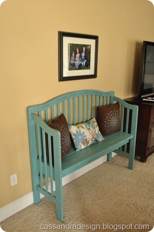old crib into bench. I want a bench for the front of the house - too bad Alex isn't done with his crib yet!