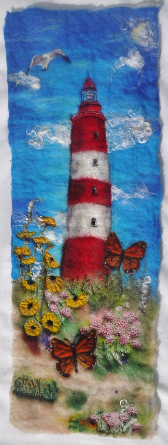Felt picture: coastal scene with lighthouse and butterflies. Felt painting made using merino wool, wet felting techniques and embellished with embroidery. #feltembroidery http://feltiefare.com/