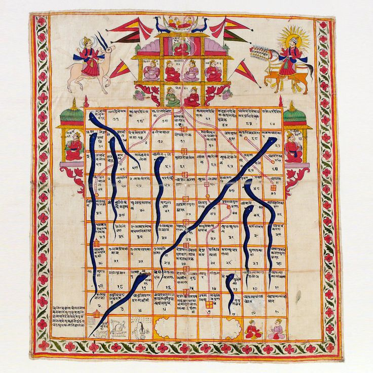 Snakes and Ladders Online | Snakes and ladders, India, late 19th century. Watercolour on cloth ...