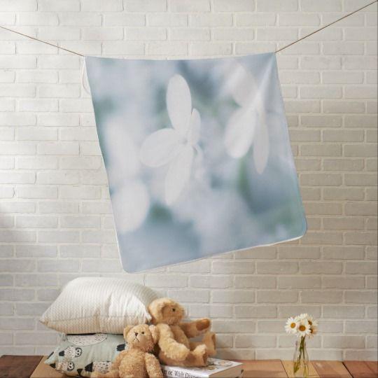 Beautiful white blossoms baby blanket. photo, photography, artwork, buy,  hydrangea, blossom, blossoms, bloom, blooming,  flower, flowers, tender, love, summer, garden, white, light, spring, floral, macro, close-up,  blue, green, kids, girl, blanket, shower, bed, home, bath