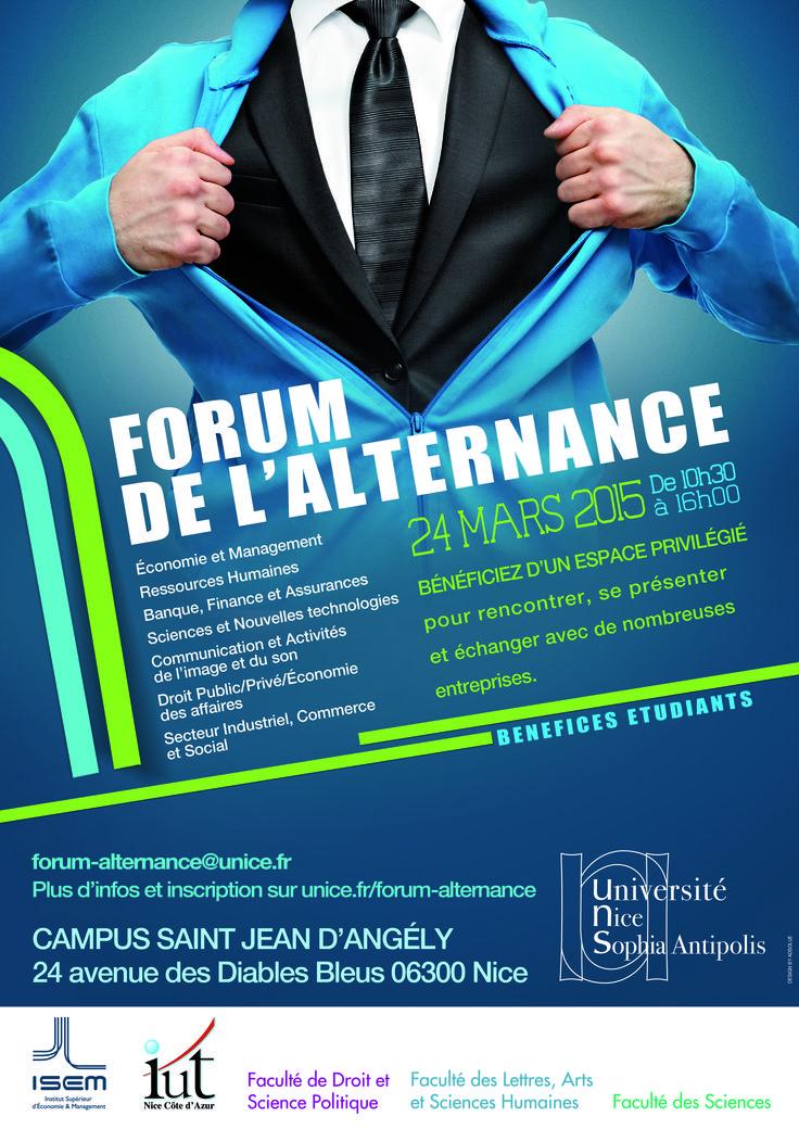 Premier Forum de l'Alternance de l'Université Nice Sophia Antipolis réunissant les formations en Apprentissage et en Contrat de Professionnalisation Universitaires.