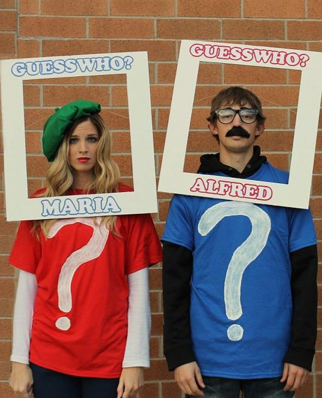 Love this last-minute Guess Who DIY Halloween couples costume idea.