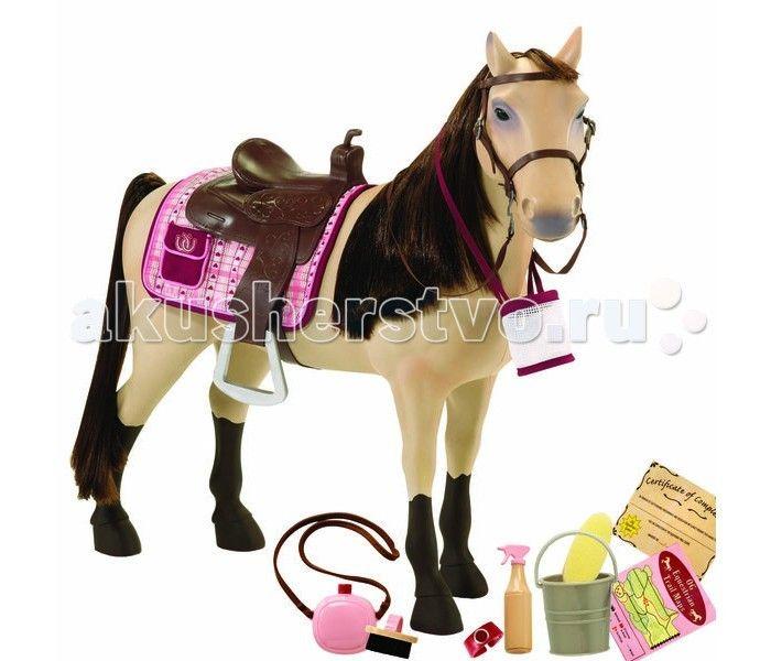 Our Generation Dolls Лошадь 50 см со сгибающими суставами  Our Generation Dolls Лошадь 50см со сгибающими суставами порода Морган.  Великолепная игрушечная лошадь породы Морган с пушистой гривой и роскошным хвостом. Ноги лошади сгибаются и могут принимать любое положение как у настоящего животного.  В комплекте: лошадь со сгибающимися ногами седло уздечка с тканевыми поводьями потник 1 мешок для корма фляжка 1 губка ведро 1 щетка бутылка с пульверизатором наручные часы диплом об участии в…