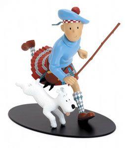Tintin courant en Kilt, bâton à la main - L'Ile Noire