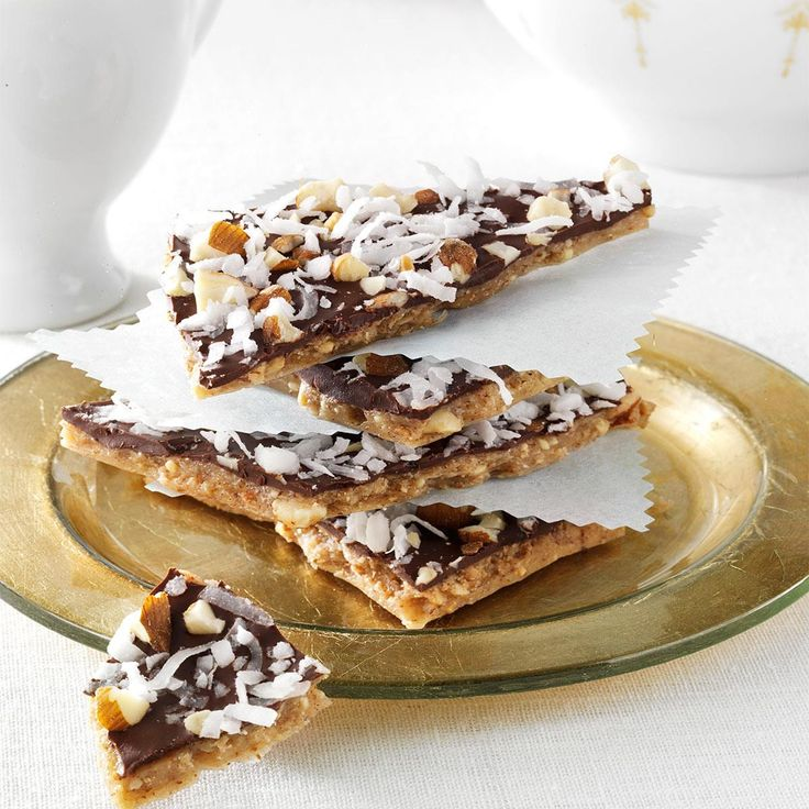 Chocolate-Covered Almond Butter Brickle Recipe -I love a soft brittle because the texture is wonderful and different. The flavors in this one remind me of a favorite candy bar. —JoAnn Belack, Bradenton, Florida