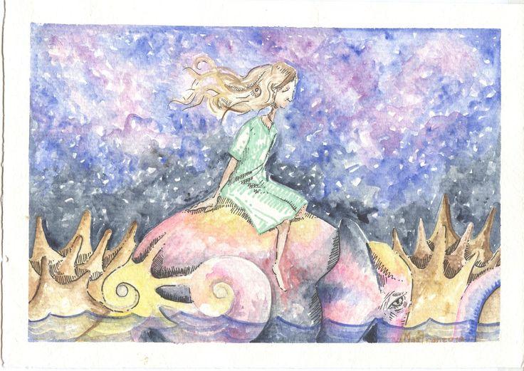 4.- Arrullada en el vaivén del robusto elefante que contrasta su piel clara, el bosque en torno y el agua rozándole el tobillo, sobre su lomo rendida cae bañada por dorados destellos que emana el astro rey en su cenit.