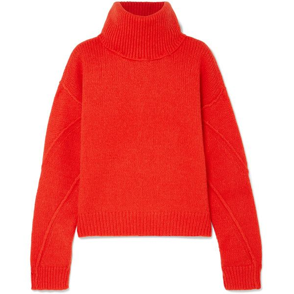 Tory Burch Eva convertible oversized wool-blend turtleneck sweater found on Polyvore featuring tops, sweaters, jumper, long sleeves, shirts, bright orange, turtle neck sweater, red sweater, long-sleeve shirt and oversized long sleeve shirt