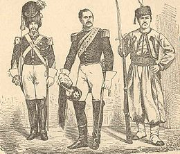 Papal Soldiers about 1860.  At this time the Papal Army consisted almost exclusively of non-citizens of the Papal States.  The population resisted military service, despite a decent salary structure and the potential for promotion. The number of papal soldiers amounted to 15,000 in 1859. The numerous nationalities presented linguistic problems; their armament was not a high priority for Pius IX.