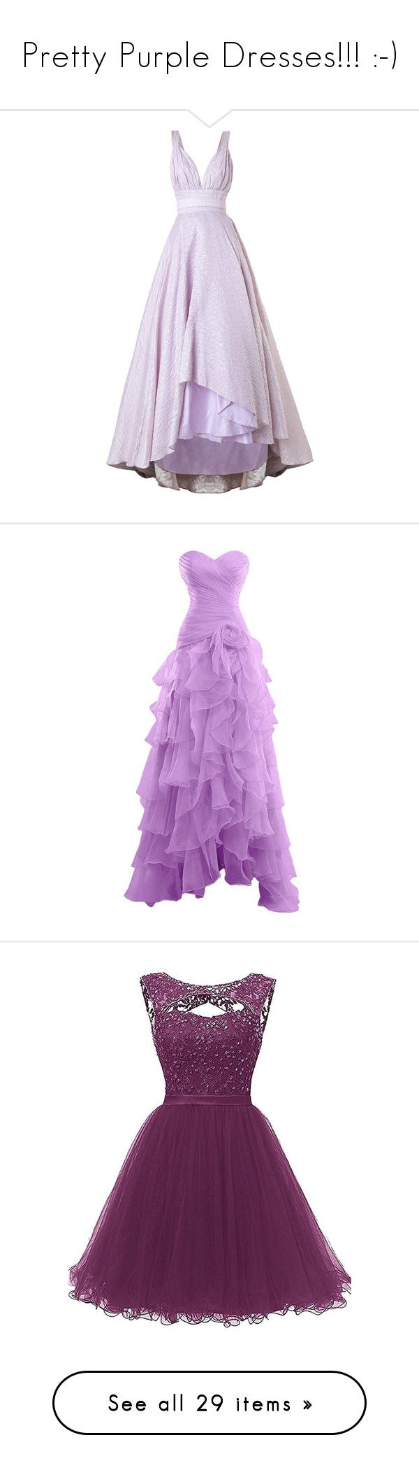 """""""Pretty Purple Dresses!!! :-)"""" by vahrendsen1988 ❤ liked on Polyvore featuring dresses, gowns, purple evening gowns, purple gown, purple ball gowns, purple evening dress, purple dresses, holiday party dresses, high low party dresses and high low prom dresses"""