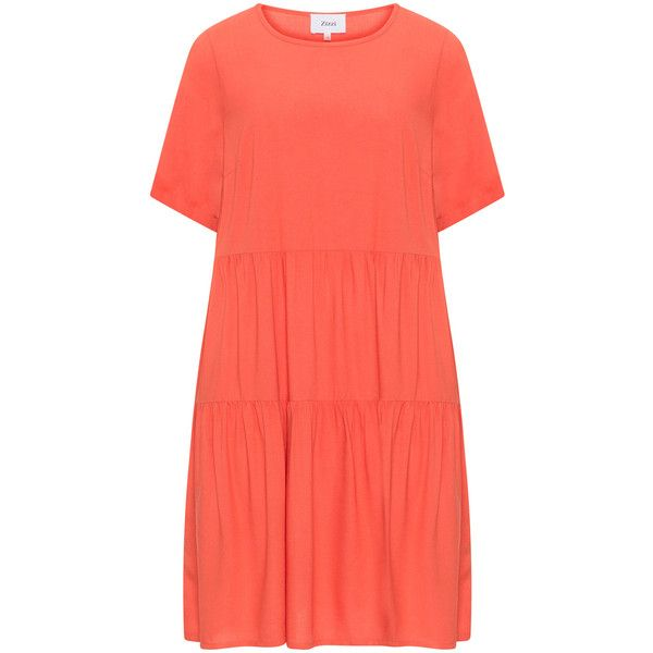 Zizzi Orange Plus Size A-line shirt dress ($41) ❤ liked on Polyvore featuring dresses, orange, plus size, plus size dresses, ruched dress, womens plus dresses, orange dress and knee length dresses