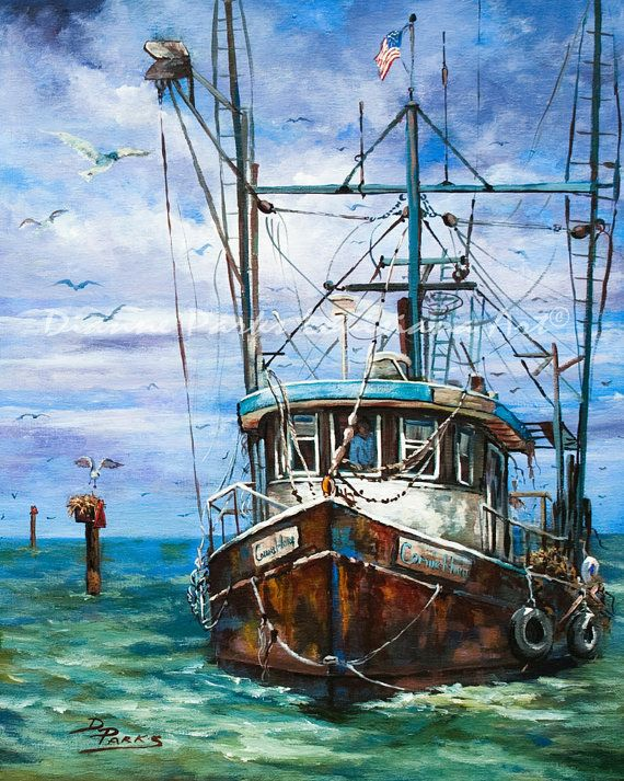 "My painting, ""Coming Home"", featured in Wooden Boats Treasury on Etsy"