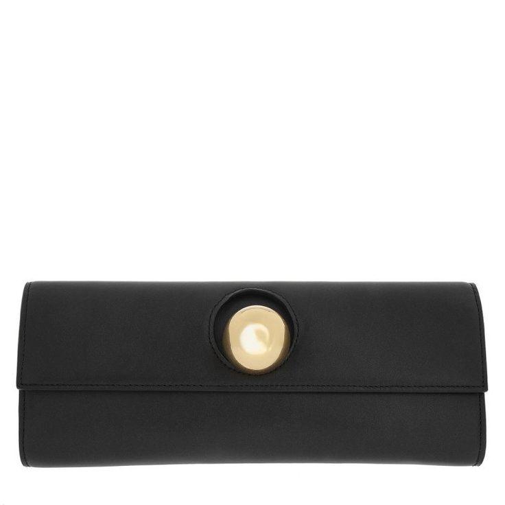 Savas Savas Tasche – Andrea Plain Black Leather Gold – in schwarz – Abendtasche für Damen