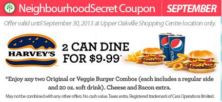 September only: Harvey's 2 can dine for $9.99 See store for details. Print this coupon & save!