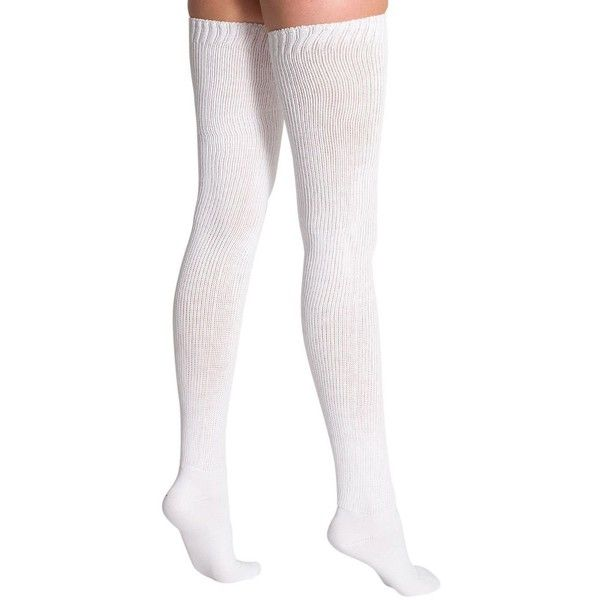 American Apparel Cotton Solid Thigh-High Socks (£14) ❤ liked on Polyvore featuring intimates, hosiery, socks, accessories, tights, shoes, stockings, cotton socks, american apparel hosiery and cotton hosiery