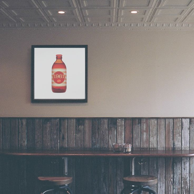 Retro stubby beer bottle art poster: another classic Canadian invention! Makes a great gift for men, or decoration for a condo, apartment or man-cave!