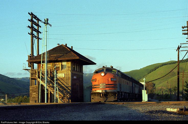 Western Pacific 913 leads a freight past Niles Tower at Fremont, California, in 1979, by Eric Blasko