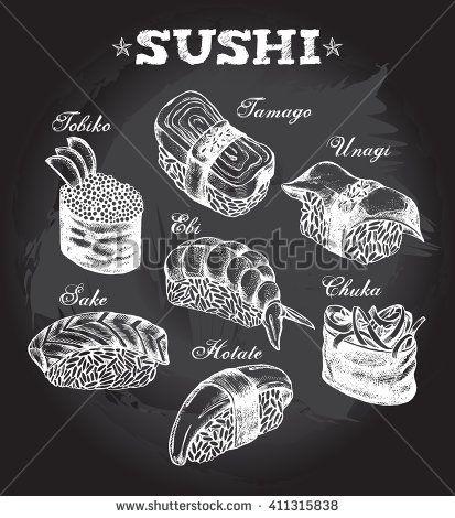 Different types of Japanese sushi (nigiri, gunkan). Hand drawn set. Vector…