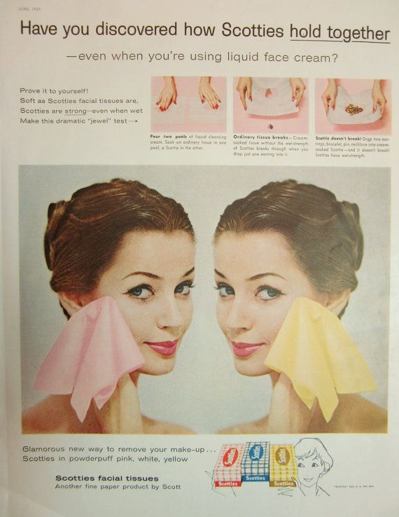 1957 Scotties Facial Tissues Vintage Advertisement by RelicEclectic on Etsy #RelicEclectic #VintageAd #BathroomDecor