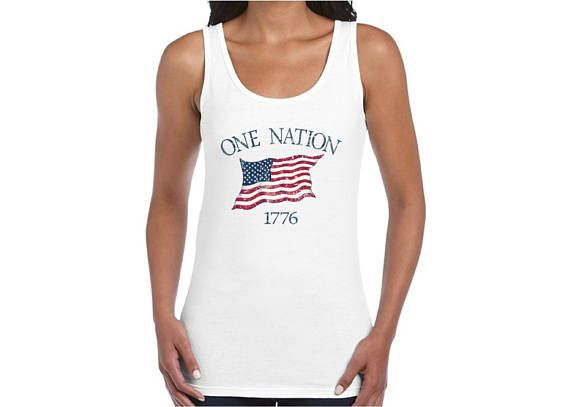 One Nation 1776 USA Flag Tank Top Shirt Tank Tops Independence Day Gift Patriotic 4th of July