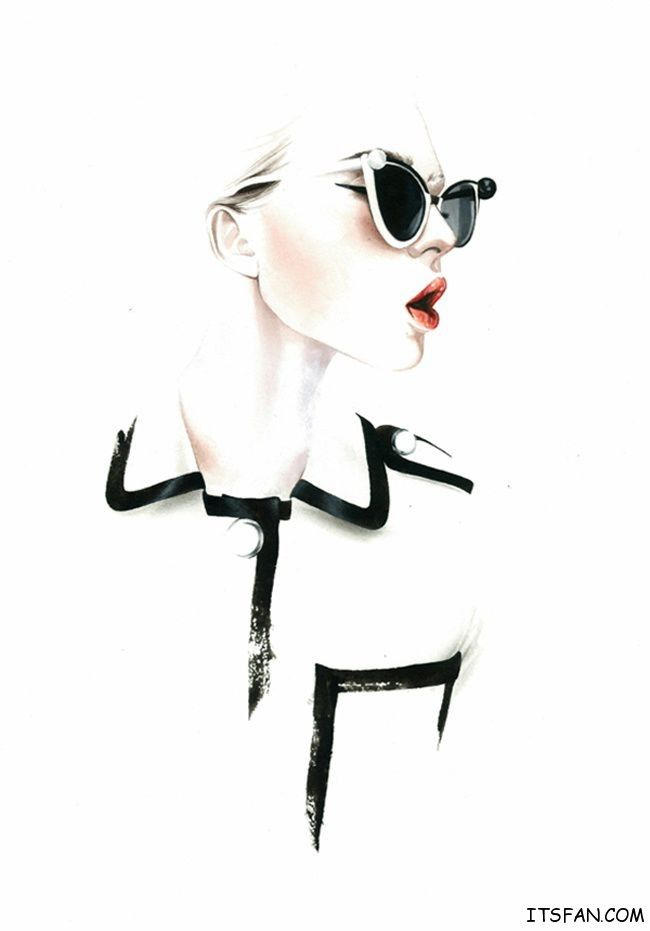 loving the cool colors and the accentuation of the lips and the bold black lines ANTÓNIO SOARES FASHION ILLUSTRATIONS